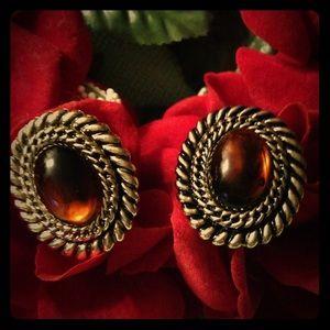 Vintage Amber Clip On Earrings